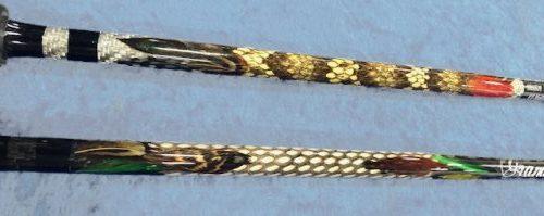 Snake skin fishing rod designs